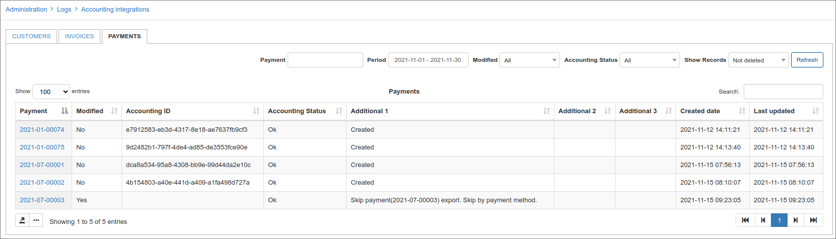 logs payments