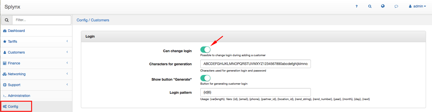 "The checkbox ""Can change login"""