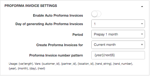 Proforma invoice settings