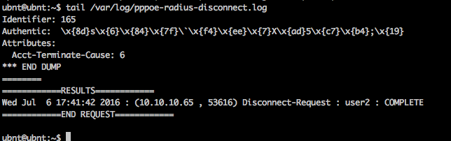 Radius disconnect log